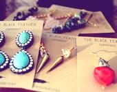 Turquoise Earrings with Rhinestones