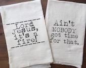 Pair of Sweet Brown Flour Sack Tea Towels