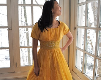 Mustard Yellow Party Dress/Vintage 1950s 1960s/Full Skirt With Soutache Trim and Rhinestones/Size Extra Small
