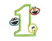 Elmo Applique Embroidery Design, Big Bird Applique, Cookie Monster Applique (247) Instant Download
