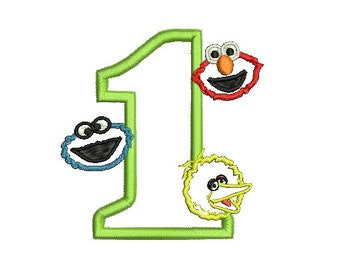 Elmo Applique Embroidery Design, Big Bird Applique, Cookie Monster Applique (247) Instant Download