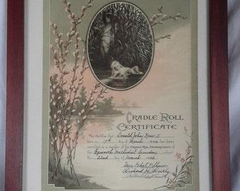 1942 Vintage Cradle Roll Certificate Methodist Sunday School in wood frame