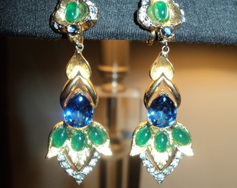 Vintage Art Nouveau Costume Earrings with wonderful blue and green stones set in a brushed golden looking metal in Very Good Condition