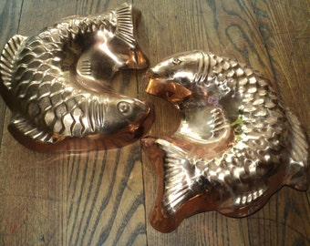 2 Vintage Copper Fish Molds, both lined with nickel that  are decorative and functional with a wonderful well developed patina in Good Shape