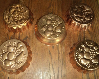 5 Vintage Copper Fruit Relief Molds, Tin Lined Copper Molds with wonderful well developed patina for a wall display or for cooking