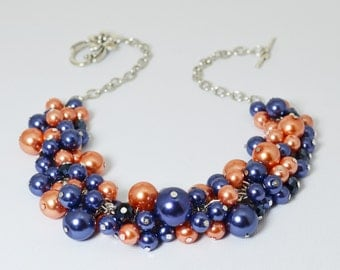 Navy and Coral Pearl Necklace, Pearl Necklace, Coral Chunky Necklace, Bridesmaid Jewelry, Bridal Jewelry, Chunky Necklace, Navy Necklace