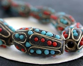 Kashmiri Beads, Hand Crafted Beads, Resin Beads, India Beads, Embellished Beads, Faux Turquoise, Faux Coral  DS-358