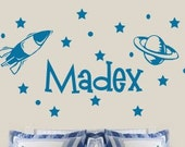 Personalized Name Space Rocket Ship Stars Kids Room Vinyl Wall Decals - 39+ Colors & Large Sizes Available