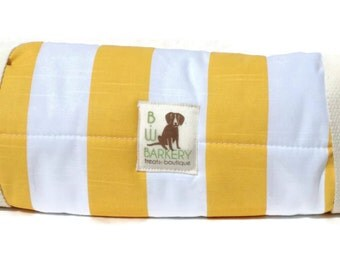 Dog Bed -Yellow  and White Stripe Travel Bed Roll