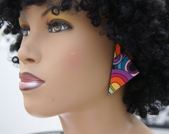 Triangle Fabric Covered Wood Stud Earrings - Circles