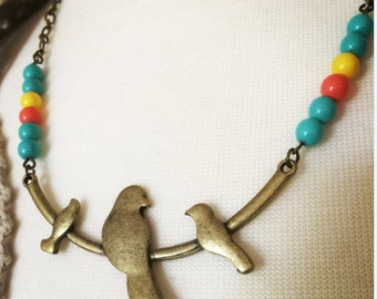 Bird Necklace, Bird branch necklace, Bohemian  chic, boho, birds on a wire