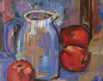 "ORIGINAL OIL PAINTING on canvas 'Red Apples & Jug' fruit wall art, still life - 10x10"""