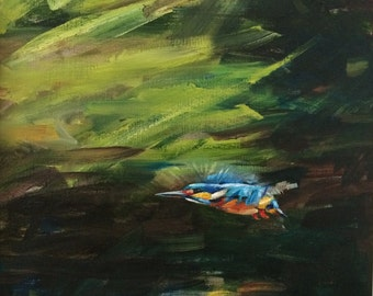 """ORIGINAL OIL PAINTING on canvas, Framed - Kingfisher In Flight - 21 x 21"""""""