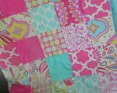 Toddler Patchwork Quilt  -  Minky Backing - Kumari Garden Fabrics - Choose your Fabrics - One of a Kind - MADE TO ORDER