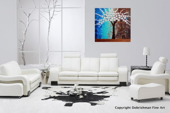 Blue Living Room Decor Snow White Frozen Hand Painted