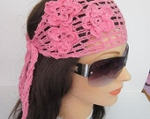 Pink Lace Headband, Pink Crochet Summer Head bands, Women Lace Headwrap, Summer Headcover, Lace Headband, Summer Headband Gift for her