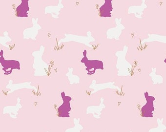 Art Gallery Fabrics - Anna Elise by Bari J. - Moonflower Lady Palette - Bunny Binkies Fluff (Metallic)