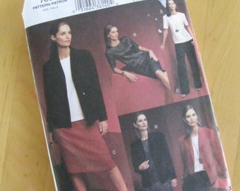 Uncut Vogue Sewing Pattern 7686 - Five Easy Pieces - Misses Petite Jacket, Top, Dress, Skirt and Pants -  Size 20-24