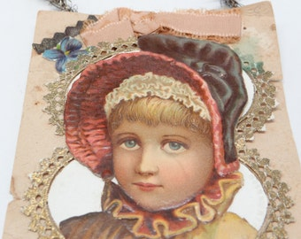 1800's  Victorian Girl Die Cut and Tinsel Scrap Christmas Ornament, Dresden Paper Lace