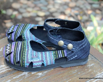 Womens Shoe Mary Jane Style In Hmong Embroidery And Indigo Batik Vegan Espadrille - Dahlia
