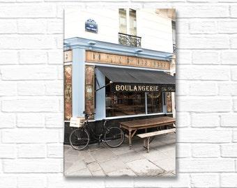 Paris Photograph on Canvas - Bicycle at the Boulangerie, Paris  Architecture Photograph, Urban Decor, Large Wall Art