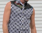 LIMITED EDITION Black and White diamond and Asian Print Cosmic cowboy sleeveless Mens Shirt with brass sri yantra snaps