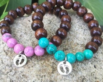 Welcome new baby boy or girl yogi inspired mala bracelets for parents kids friends gifts