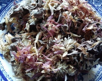 Dried Mum Flowers, some Leaves, Dark Mauve Pink, Fragrant, Potpourri Supply, Alter Supply, Perfumes, Spells Potions, Lotions ,6x6.5 inch bag