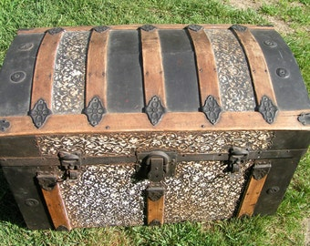 1800s DOME TOP Wood and Ornate Floral Pressed Tin TRUNK Pickup Only Connecticut