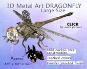 LARGE Metal Art Dragonfly,, Steel Dragonfly Art, Garden Art Dragonfly by Brown-Donkey Designs