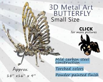 SMALL Metal Art Butterfly, Steel Art Butterfly, Garden Art Butterfly by Brown-Donkey Designs