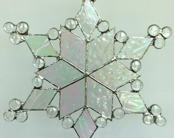 stained glass snowflake suncatcher (design 16)