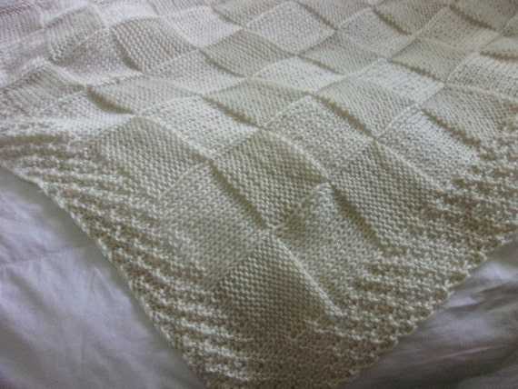 Hand knit Baby Blanket in large Block pattern with hand