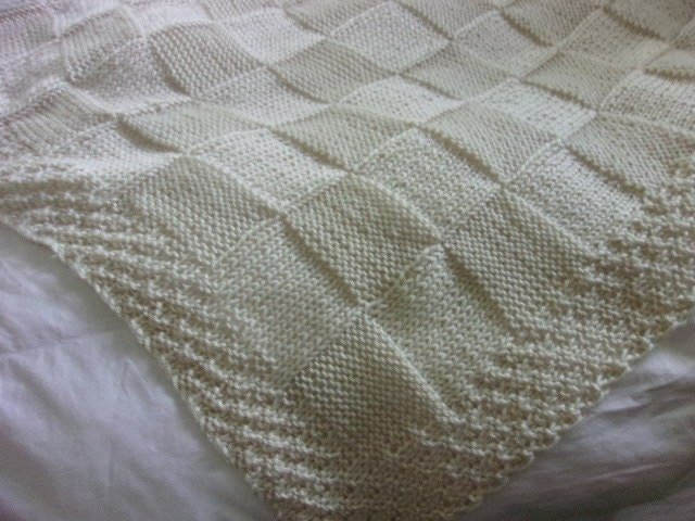 Baby Cot Blanket Knitting Pattern : Hand knit Baby Blanket in large Block pattern with hand