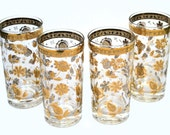 Vintage Culver LTD Gold Glassware, Chantilly Pattern, Mid Century Barware, Gold Tumblers, 12 Oz Drinking Glasses, High Ball Glasses Set of 4