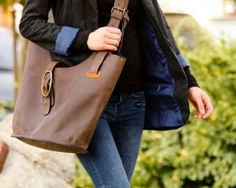 big brown crossbody woman bag Ladybuq art design leather