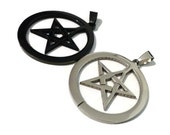 Steel pentacle pendant 35mm silver 1 pc