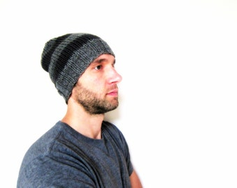 Striped Hat Mens Skull Cap Knit Beanie Guys Slouchy Beanie Womens Accessories Knitted Fathers Day Gift Gray Oversized Hat Ladies Crochet