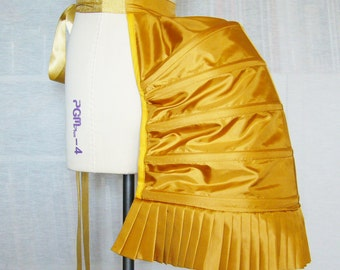 Golden Yellow Structured Hooped Bustle in Satin Fabric - Undergarment - Underpinning - Lingerie