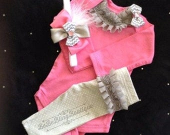 Newborn baby girl take home outfit complete grey pink ruffles bows headband, matching pants, available in newborn, 3 and 6 month size