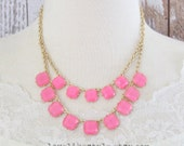 Double Strand Pink Square Stone Necklace, Layered Gold Chain Necklace,Bridesmaid Necklace,Flower Girl Necklace