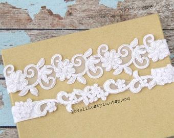 White Beaded Lace Wedding Garter Set, White Lace Garter Set, Toss Garter , Keepsake Garter / GT-21A