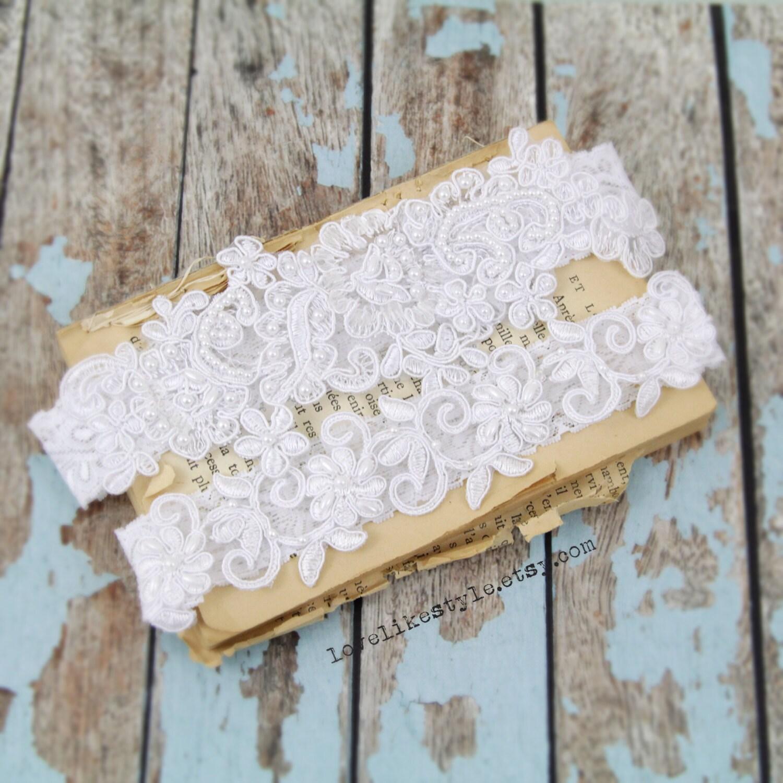 White Pearl Beaded Lace Wedding Garter Set White Lace Garter