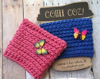Reusuable Coffee Cozy with Wood Butterfly Button