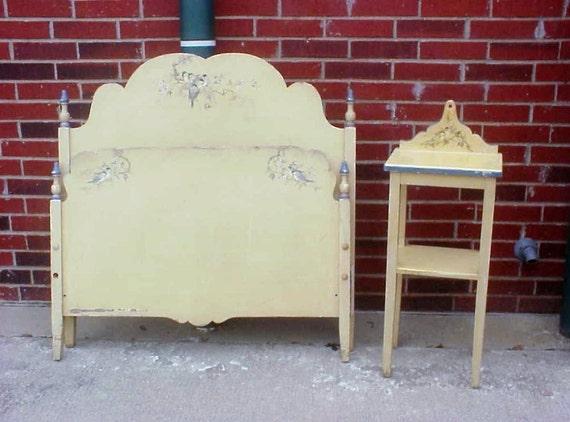 rare berkey gay blue bird bedroom suite bed table vanity set