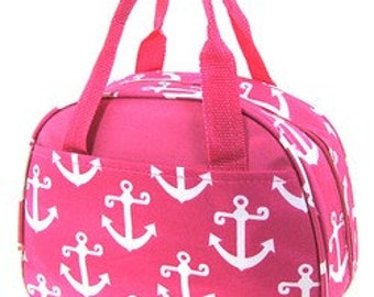 Canvas insulated lunch bag in anchor design