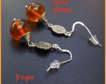 Genuine Amber Earrings  Yoga Ohm  earrings Long Yoga Dangles on  Sterling wires by Lyrisgems