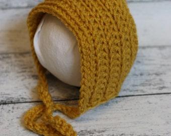bonnet, crochet bonnet, baby bonnet, photo prop bonnet, newborn photo prop, fall bonnet,  ready to ship