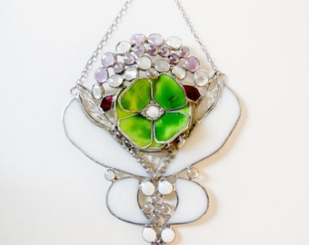 Lime Green Flower, Gift For Her, Gift For Girlfriend, Wedding Gift, White Green  Suncatcher, Ready To Ship.
