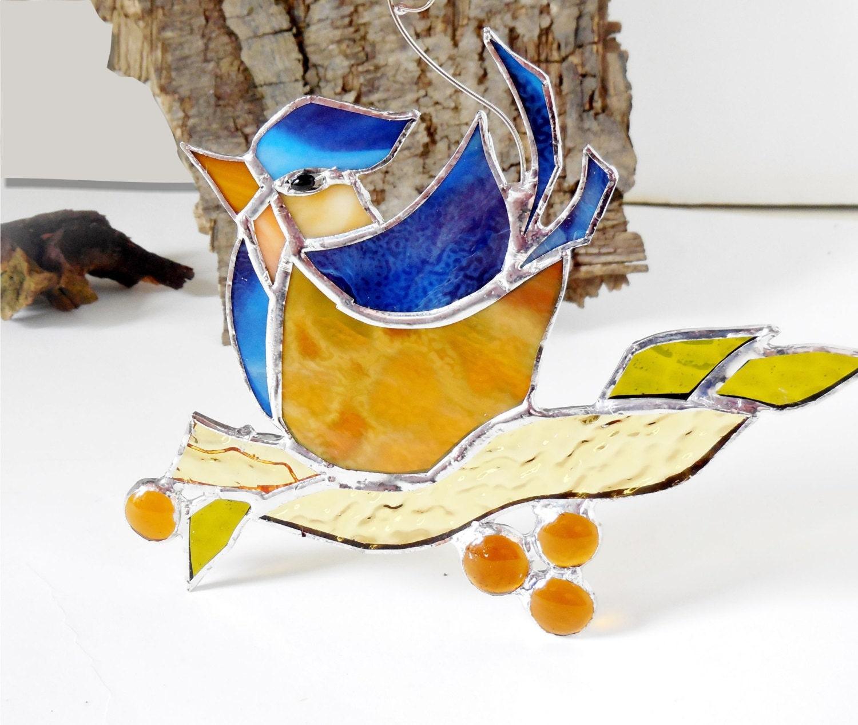 Stained Glass Bird The Happy Bird Blue Bird Home Decor